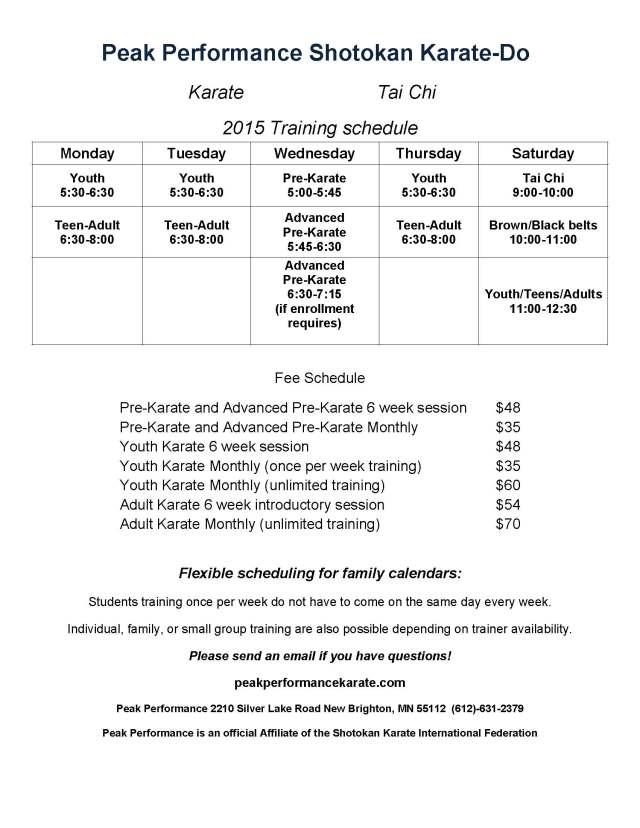 Class Schedule 2015